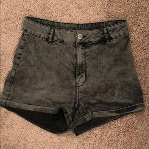 High Waisted Black Acid Wash Jean Shorts